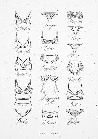 Poster classic underwear in vintage style drawing with lines