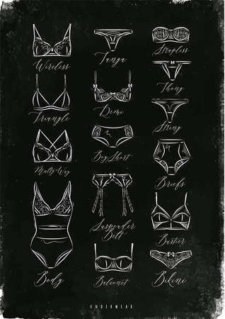 a thong: Poster classic underwear icons in vintage style drawing with chalk on chalkboard