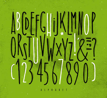 Alphabet set straight lines font in vintage style drawing with black and white lines on dirty green background