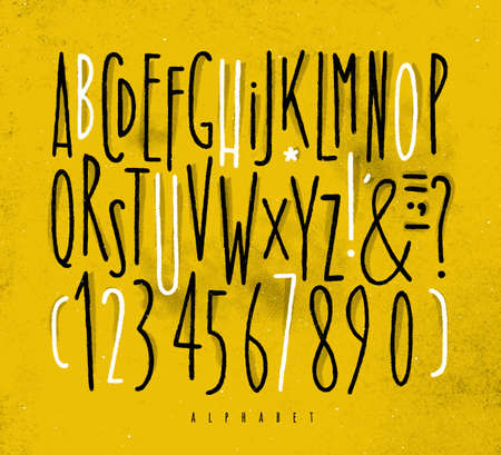 Alphabet set straight lines font in vintage style drawing with black and white lines on dirty yellow background