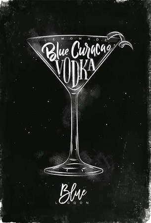 ブルーラグーン レタリング レモネード、ブルー キュラソー、チョークで黒板背景上に描画グラフィック ヴィンテージスタイルでウォッカ カクテル  イラスト・ベクター素材