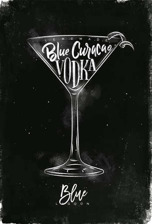 Blue lagoon cocktail lettering lemonade, blue curacao, vodka in vintage graphic style drawing with chalk on chalkboard background
