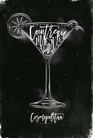 Cosmopolitan cocktail lettering cranberry juice, cointreau, vodka, lime in vintage graphic style drawing with chalk on chalkboard background Çizim