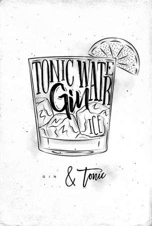 Gin tonic cocktail lettering tonic water, gin, ijs in vintage grafische stijl tekening op vuile papier achtergrond Stock Illustratie