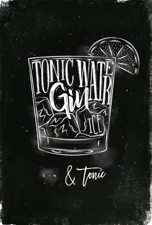 ジン トニック カクテル レタリング トニック水、ジン、氷チョークで黒板背景上に描画グラフィック ヴィンテージスタイルで  イラスト・ベクター素材