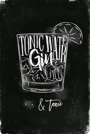 Gin tonic cocktail lettering tonic water, gin, ice in vintage graphic style drawing with chalk on chalkboard background Çizim