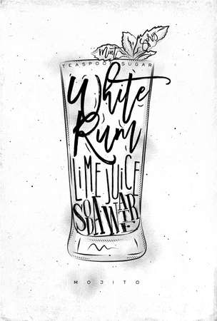 white sugar: Mojito cocktail lettering teaspoon sugar, white rum, lime juice, soda water in vintage graphic style drawing on dirty paper background
