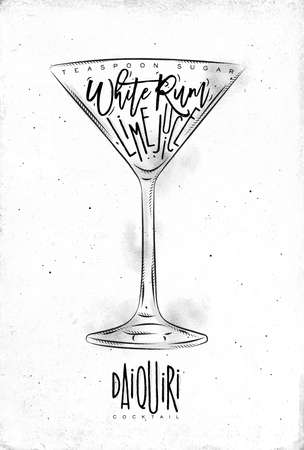 white sugar: Daiquiri cocktail lettering teaspoon sugar, white rum, lime juice in vintage graphic style drawing on dirty paper background Illustration