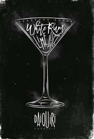 white sugar: Daiquiri cocktail lettering teaspoon sugar, white rum, lime juice in vintage graphic style drawing with chalk on chalkboard background Illustration