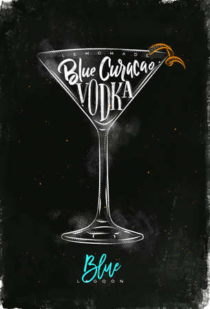Blue lagoon cocktail lettering lemonade, blue curacao, vodka in vintage graphic style drawing with chalk and color on chalkboard background Ilustração