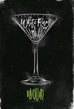 white sugar: Daiquiri cocktail lettering teaspoon sugar, white rum, lime juice in vintage graphic style drawing with chalk and color on chalkboard background Illustration