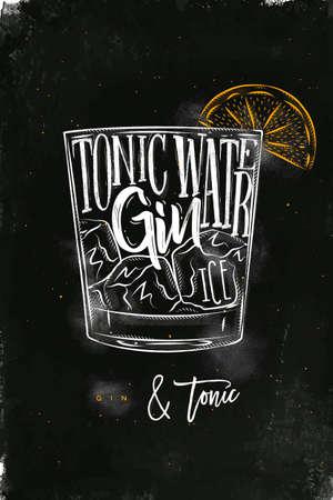 Gin Tonic cóctel de letras agua tónica, ginebra, hielo en estilo gráfico vintage dibujo con tiza y color en el fondo de pizarra
