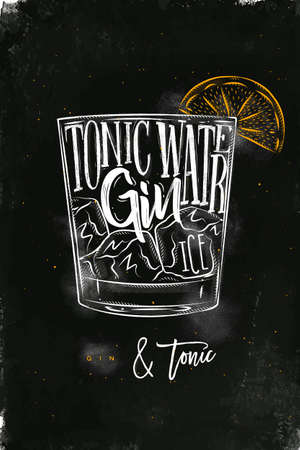 Gin tonic cocktail lettering tonic water, gin, ice in vintage graphic style drawing with chalk and color on chalkboard background