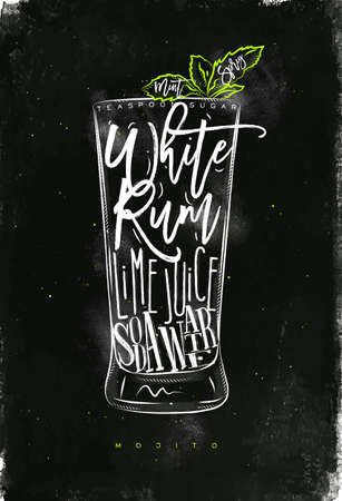white sugar: Mojito cocktail lettering teaspoon sugar, white rum, lime juice, soda water in vintage graphic style drawing with chalk and color on chalkboard background