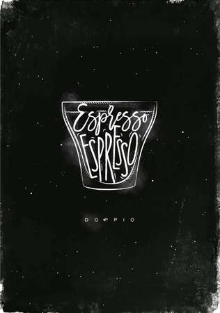 espresso cup: Doppio cup lettering espresso in vintage graphic style drawing with chalk on chalkboard background