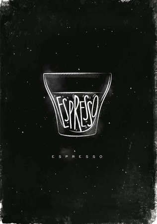 Espresso cup lettering espresso in vintage graphic style drawing with chalk on chalkboard background Illustration