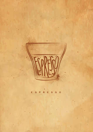 espresso cup: Espresso cup lettering espresso in vintage graphic style drawing with craft