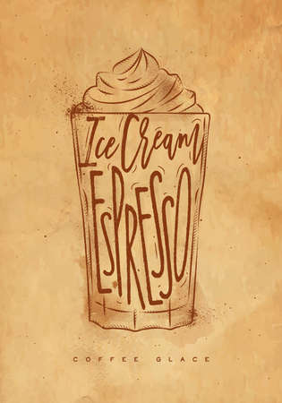 glace: Coffee glace cup lettering ice cream, espresso in vintage graphic style drawing with craft