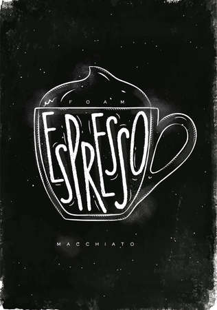 Macciato cup lettering foam, espresso in vintage graphic style drawing with chalk on chalkboard background