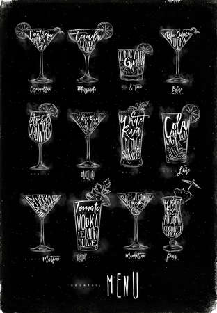 daiquiri: Cocktail menu graphic lettering bloody mary, blue lagoon, cosmopolitan, cuba libre, daiquiri, martini, gin tonic, manhattan, margarita, mojito, pina colada spritz drawing with chalk on chalkboard