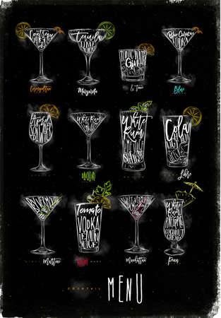 daiquiri: Cocktail menu graphic lettering bloody mary, blue lagoon, cosmopolitan, cuba libre, daiquiri, martini, gin tonic, manhattan, margarita, mojito, pina colada spritz drawing chalk color on chalkboard