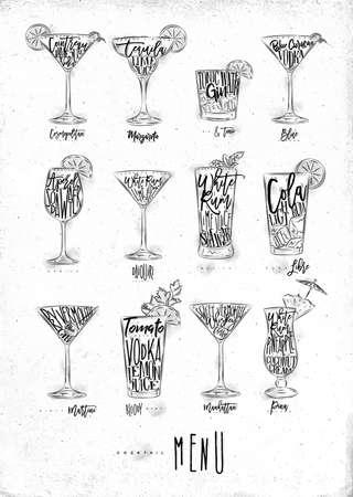 Cóctel menú gráfico letrero sangriento mary, azul laguna, cosmopolita, cuba libre, daiquiri, martini, ginebra tónico, manhattan, margarita, mojito, pina colada spritz dibujo sobre fondo de papel sucio
