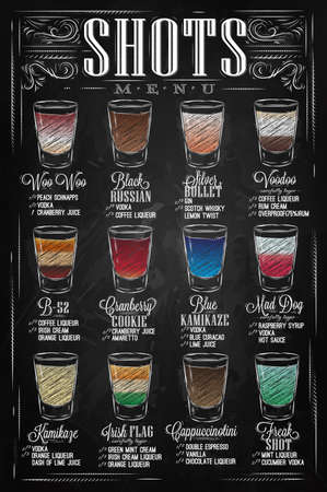 Set of shots menu with a shots drinks with names in vintage style stylized drawing with chalk on chalkboard.