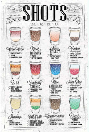 Set of shots menu with a shots drinks with names in vintage style Imagens - 79586821