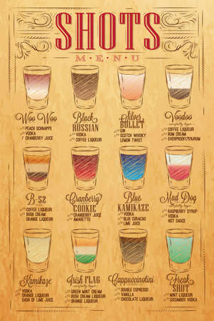 Set of shots menu with a shots drinks with names in vintage style stylized drawing with craft Illustration