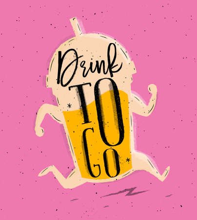 Poster running cup in retro style lettering drink to go drawing on pink background 向量圖像