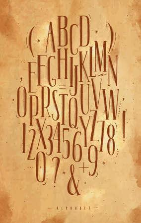 アルファベットはビンテージ スタイル クラフトの背景に茶色で図面にゴシック フォントを設定