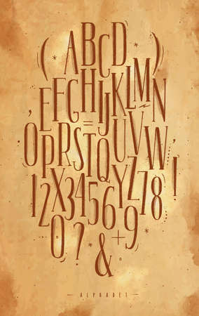 Alphabet set gothic font in vintage style drawing with brown on craft background
