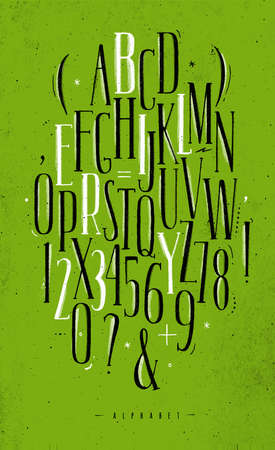 Alphabet set gothic font in vintage style drawing with black and white lines on dirty green background