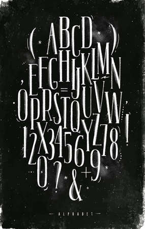 Alphabet set gothic font in vintage style drawing with chalk on chalkboard background