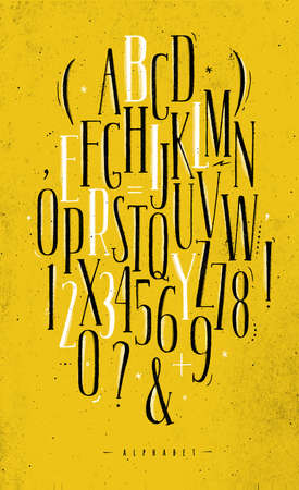 Alphabet set gothic font in vintage style drawing with black and white lines on dirty yellow background