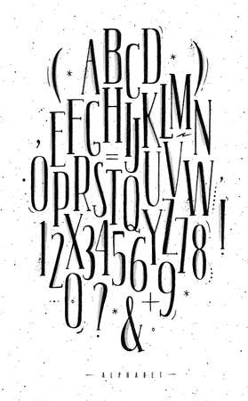 Alphabet set gothic font in vintage style drawing with black on white background Ilustração