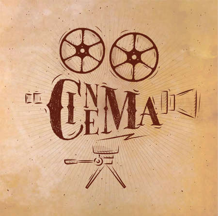 Poster movie camera lettering cinema in retro style drawing with craft.