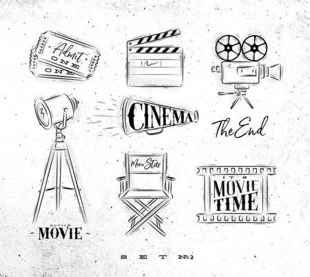Cinema symbols ticket, clapperboard, movie camera, horn, searchlight, chair for a movie star, cine film drawing on dirty paper.