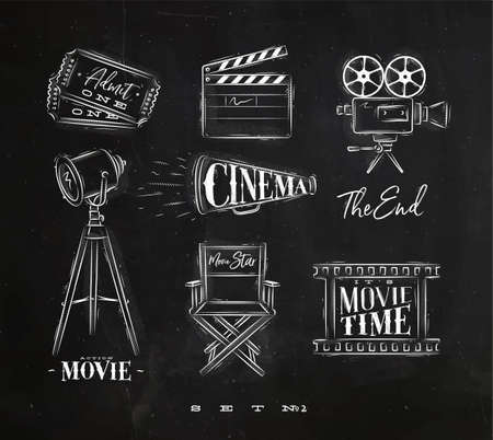 Cinema symbols ticket, clapperboard, movie camera, horn, searchlight, chair for a movie star, cine film drawing with chalk on chalkboard background set 2