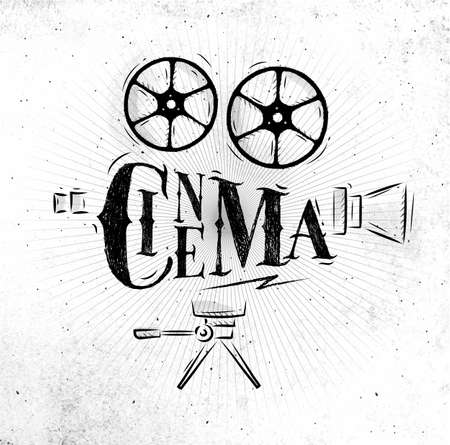Poster movie camera lettering cinema in retro style drawing dirty paper background
