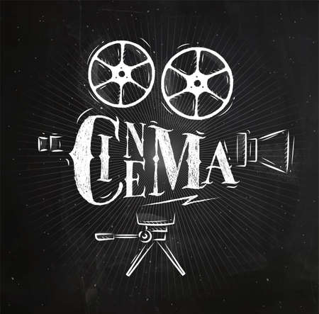 Poster movie camera lettering cinema in vintage style drawing with chalk on chalkboard background Vectores