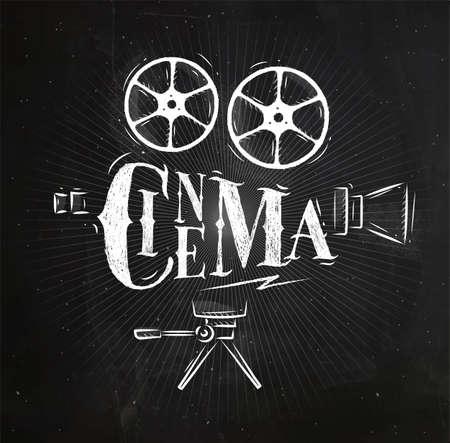 Cinema dell'iscrizione della cinepresa del manifesto nel disegno d'annata di stile con gesso sul fondo della lavagna Archivio Fotografico - 81785245