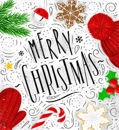 christmas tree illustration: Christmas poster lettering merry christmas drawing in vintage style on dirty paper Illustration