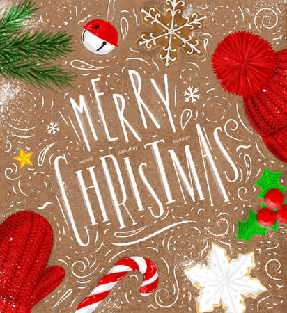 christmas tree illustration: Christmas poster lettering merry christmas drawing in vintage style on craft Illustration