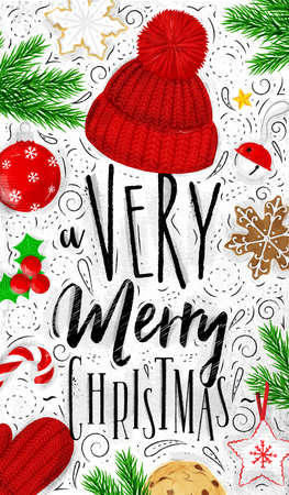 Christmas poster lettering a very merry christmas drawing in vintage style on dirty paper Illustration