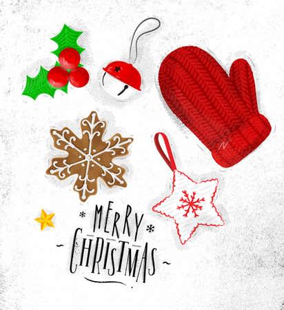 크리스마스 테마 요소 비스킷, 장갑, 종소리, 크리스마스 트리 장식, 스타 레터링 메리 크리스마스 더러운 종이에 빈티지 스타일 그리기