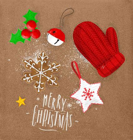크리스마스 테마 요소 비스킷, 장갑, 종소리, 크리스마스 트리 장식, 스타 레터링 메리 크리스마스 공예에 빈티지 스타일 그리기
