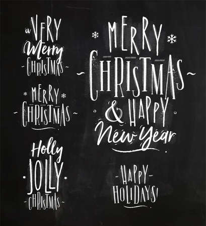 Chrictmas lettering graphic a very merry christmas and happy new year, holly jolly christmas, happy holidays drawing in retro style on chalkboard Illustration