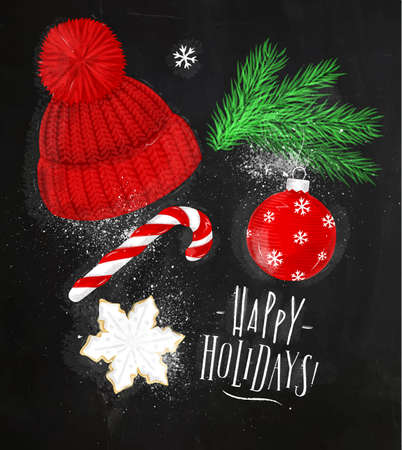 Christmas theme symbols biscuit, Christmas tree, decoration, hat, candy lettering happy holidays drawing in vintage style on chalkboard
