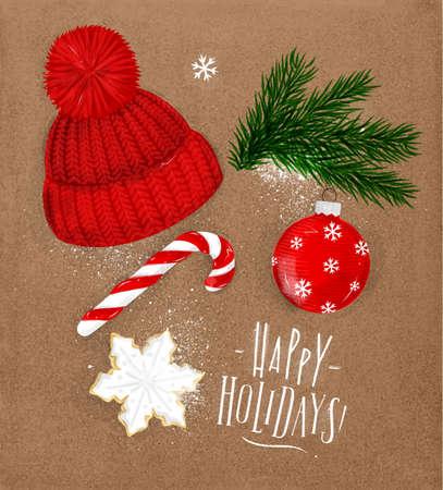 크리스마스 테마 기호 비스킷, 크리스마스 트리, 장식, 모자, 캔디 레터 행복 공휴일 공예에 빈티지 스타일 그리기